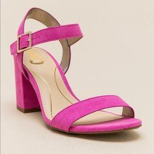 Pink mid block heels